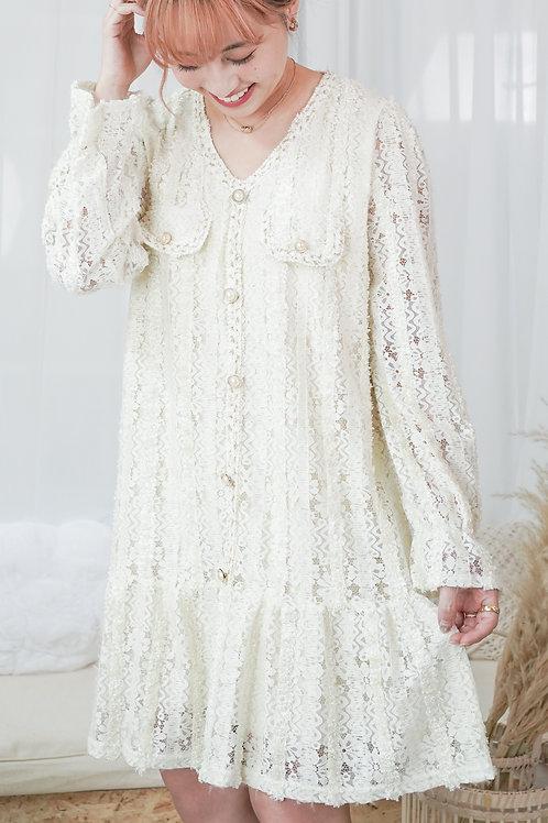 [現貨] 小貴婦顯瘦直紋蕾絲細毛毛花邊連身裙