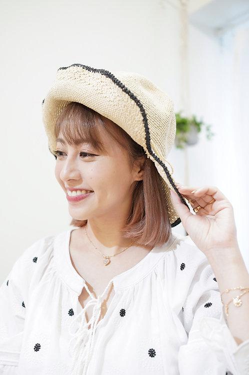 [現貨賣光不補] 愛心帽邊可調形狀蝴蝶結編藤遮陽帽子(淺米色)
