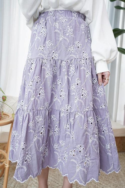 [預訂] 春季通花刺繡A字半身裙(香芋紫)
