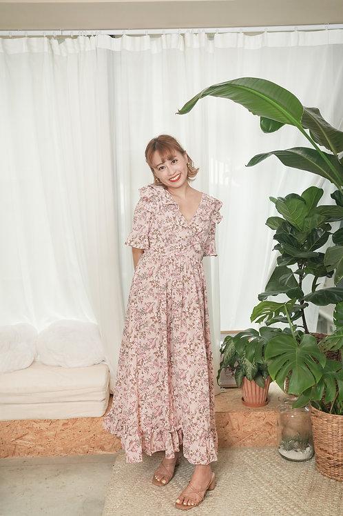 [現貨賣光不補] 歐洲花園碎花荷葉邊前後V綁帶連身裙(粉色)