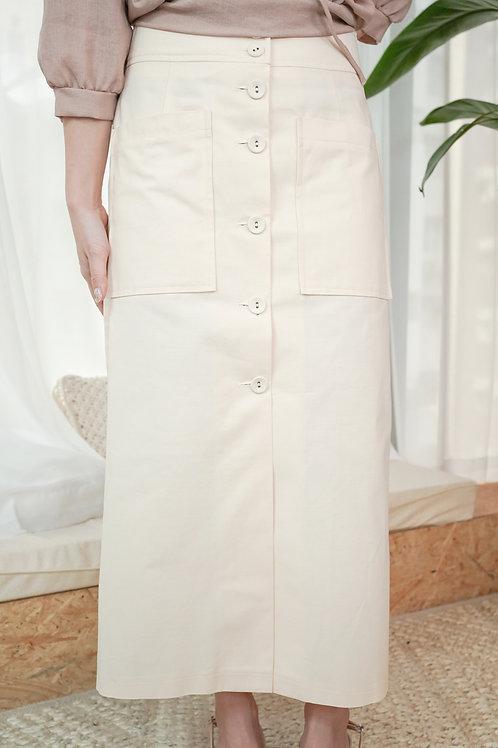 [現貨賣光不補] 挺身整排扭扣雙水袋半身裙(米白色)
