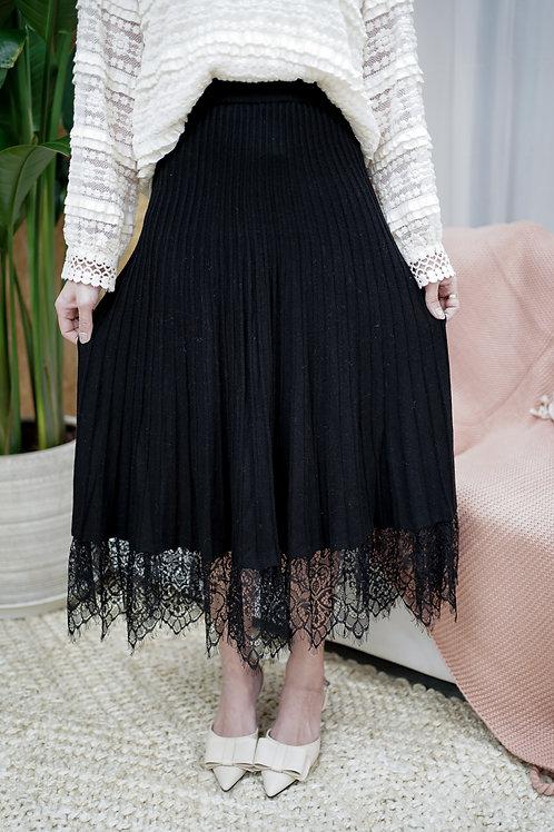 [售罄] 針織立體直紋拼接蕾絲半身裙(黑色)