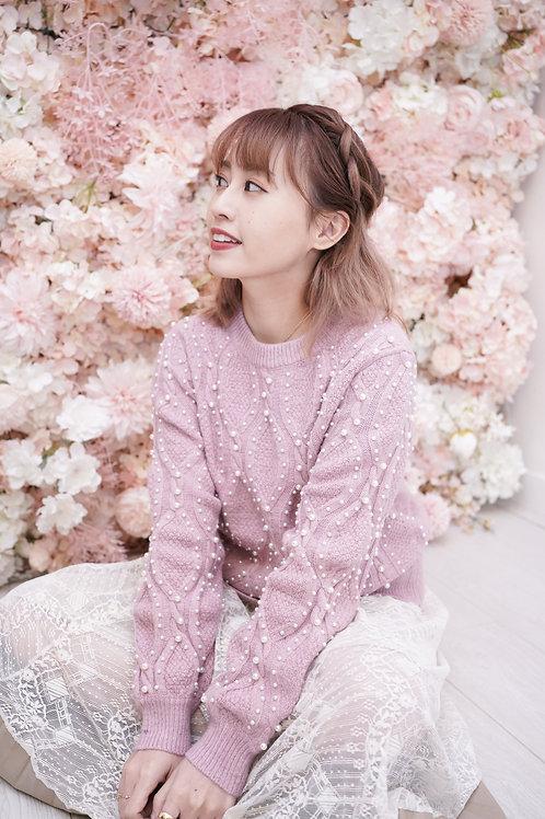 [售罄] 大流行小珠裝飾冷衫上衣(粉色)