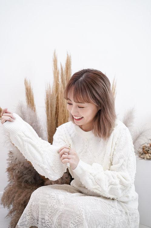 [售罄] 大流行小珠裝飾冷衫上衣(白色)