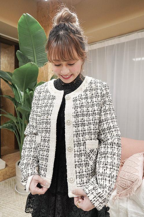 [售罄] Tweed小香風珍珠鈕扣釘珠外套(深拼色)