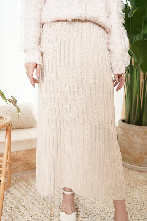 [預訂] 直紋針織直身顯瘦半身裙(米色)