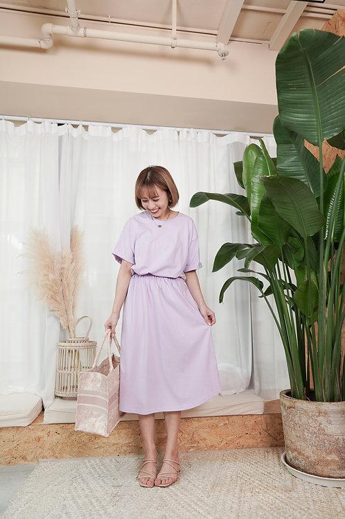 [現貨] 大彈性腰輕鬆好搭連身Tee裙(粉紫色)