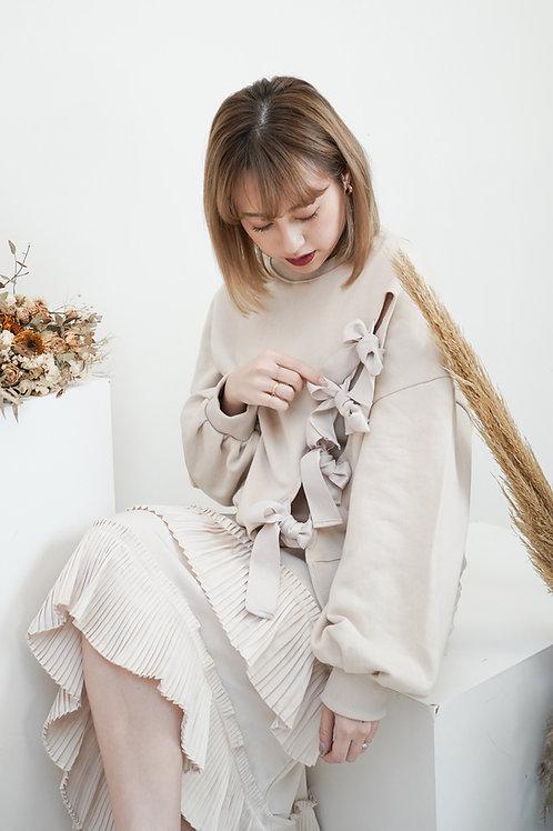 [售罄] 舒適易搭中空斜綁蝴蝶結淡杏粉色衛衣