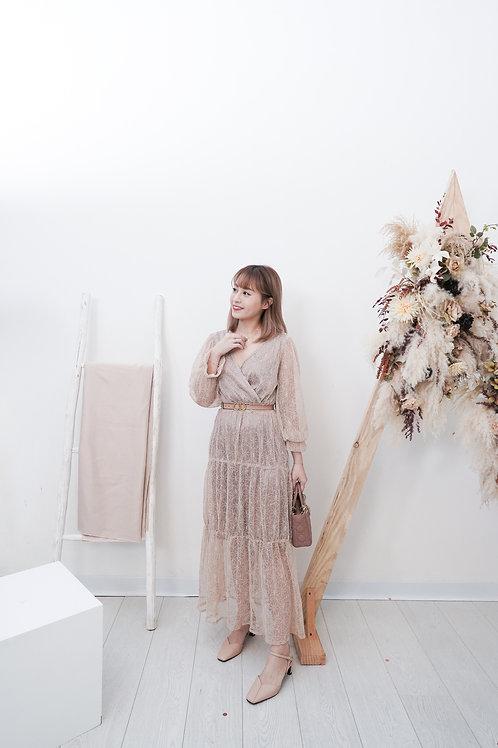 [售罄] 左右搭V領裸色全花花蕾絲連身裙