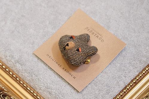 日本手作啡紋布料熊人扣針