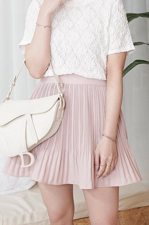 [現貨] 挺身細壓摺顯腿細連防走光褲粉色半身短裙