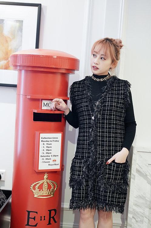 [售罄] 必入!小香風流蘇金蔥背心裙套裝(黑色)