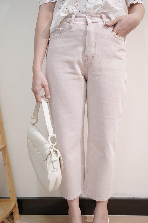 [現貨賣光不補] 高質韓妞淡粉紅直腳8分牛仔褲
