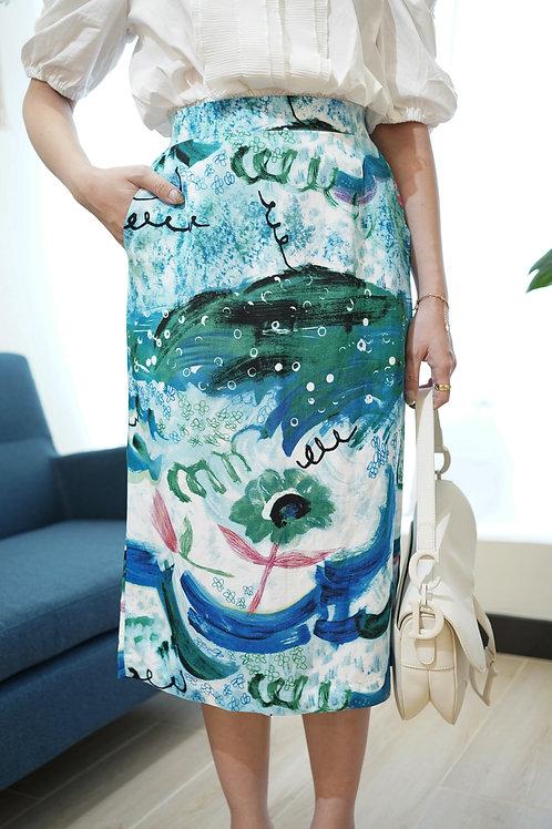 [現貨賣光不補] 藝術彩繪風別緻半身裙