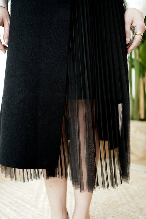[售罄] 針織拼百摺紗直身半身裙(黑色)
