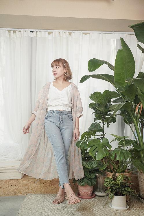 [售罄] 夢幻雪紡薄外套綁帶連身裙兩穿(粉紫色系)