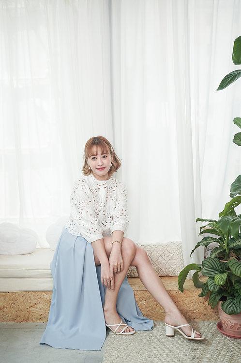[預訂] 中央開叉飄逸雪紡女神半身裙褲(粉藍色)