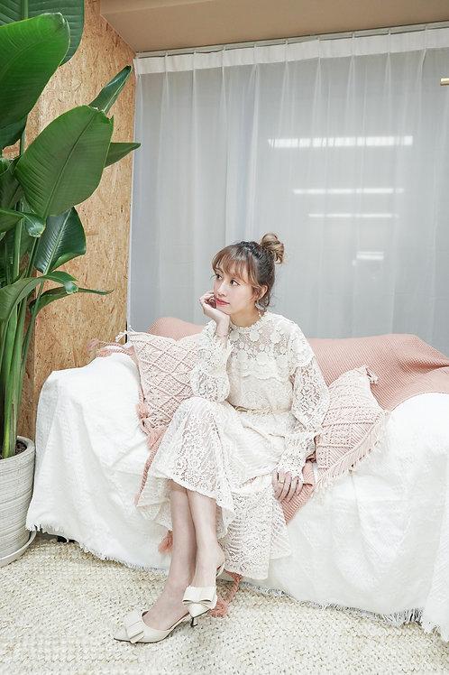 [售罄] 全蕾絲連身長裙連珍珠款蝴蝶結腰帶