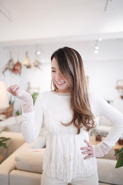 [現貨賣光不補] 蕾絲小背心/小細節透紗拼棉合身上衣(白色)