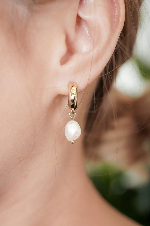 [現貨] 通心粉天然珍珠垂吊耳環