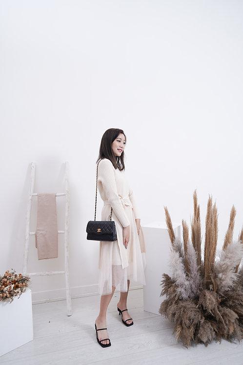 [售罄] 米白直紋針織紗裙套裝