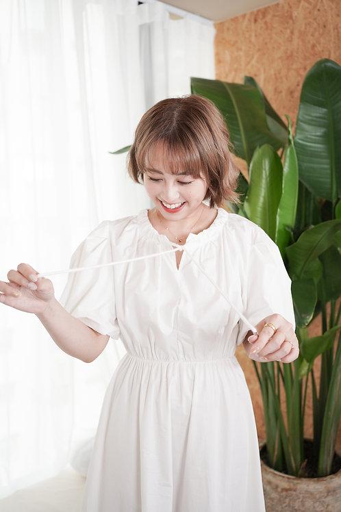 [現貨賣光不補] 隨性風衣感索帶細節裙擺半透細的連身裙(白色)