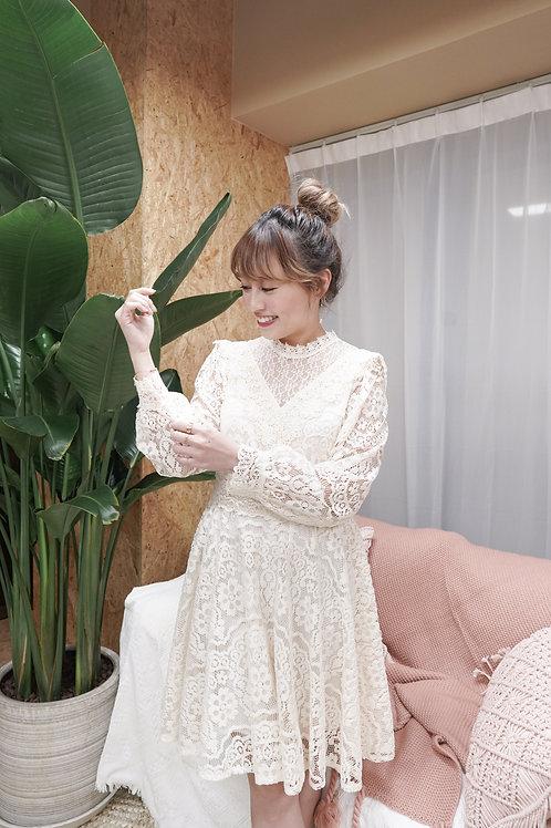 [售罄] 全蕾絲半透V領連身裙(米白色)