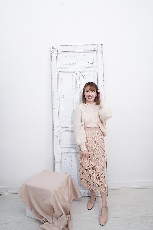 [預訂] 滿滿愛心蕾絲直身半身裙