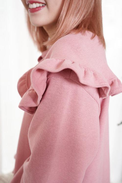 [預訂] 質感羅紋娃娃領長版上衣/連身裙(粉紅色)