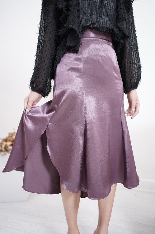 [預訂] 絕美絲光緞面花瓣裙擺半橡筋半身裙(優雅灰紫)