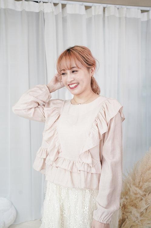 [預訂] 高質微光薄料短版荷葉飾肩橡筋袖上衣(淡粉色)