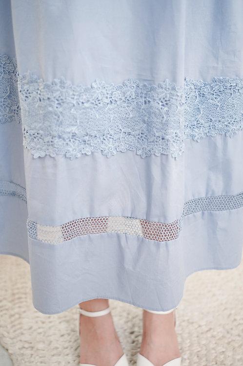 [現貨賣光不補] 隨性風衣感索帶細節裙擺半透細的連身裙(粉藍色)