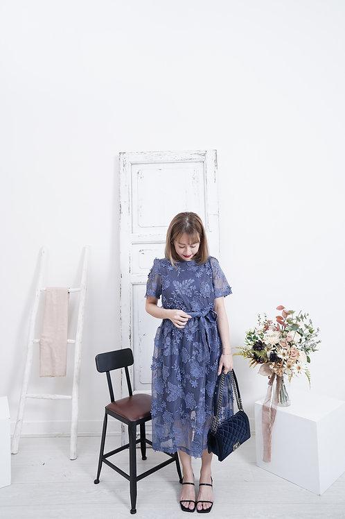 [售罄] 超立體蕾絲免燙仙氣滿滿蕾絲腰帶連身裙(深藍色)