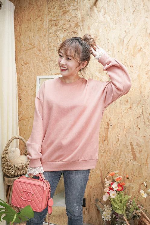 [現貨賣光不補] 半透蕾絲袖細節袖子舒適實搭衛衣(粉色)