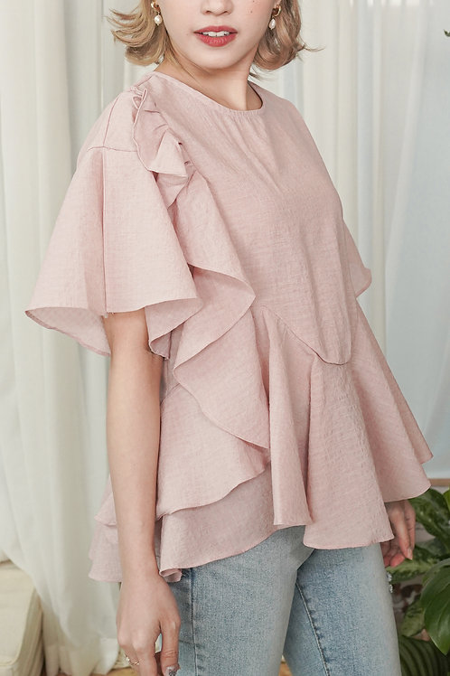 [預訂] 寬鬆設計感荷葉邊上衣(粉色)