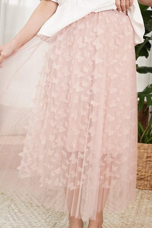 [現貨賣光不補] 超仙立體飛飛蝴蝶雙層紗百摺鬆緊腰半身裙(粉紅色)