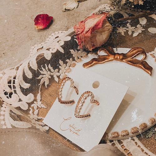 [現貨賣光不補] 珍珠閃石愛心圈圈耳環