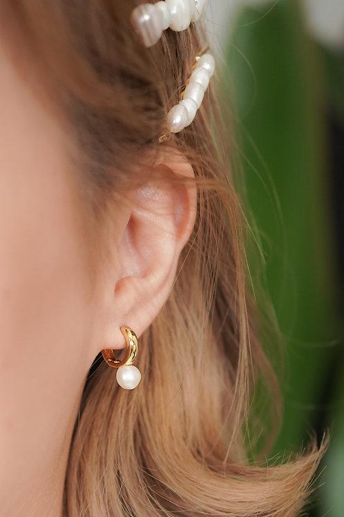 [現貨] 迷你版小巧通心粉接合天然珍珠耳環