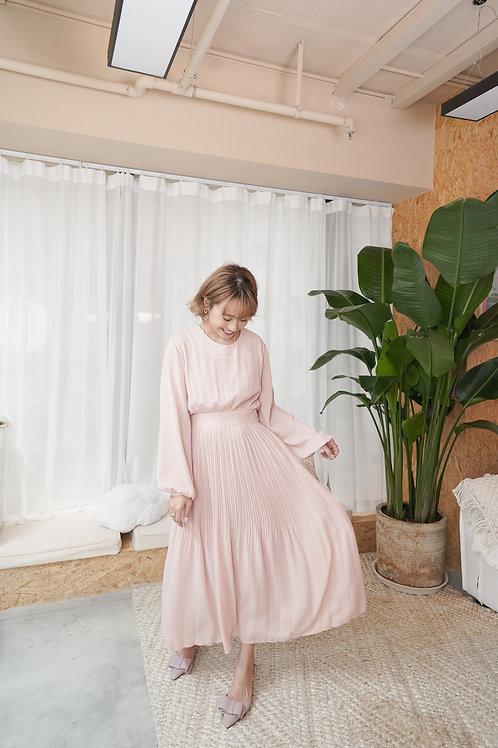 [現貨賣光不補] 簡約知性雪紡修腰後綁蝴蝶結連身長裙(粉色)