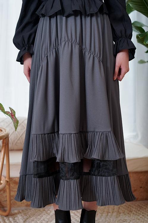 [預訂] 大小百摺拼紗荷蘇邊半身裙(氣質灰)