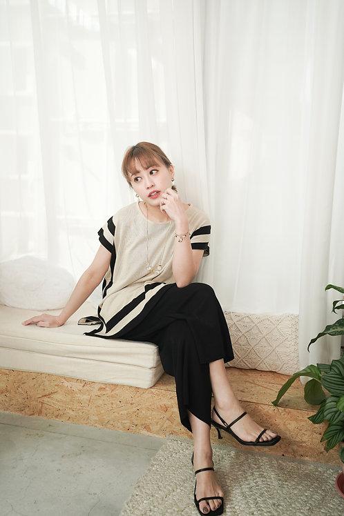 [預訂] 韓劇貴婦框線針織上衣九分褲套裝(黑白拼色)