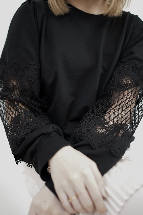 [售罄] 菱格紋半透蕾絲拼接袖子衛衣(黑色)