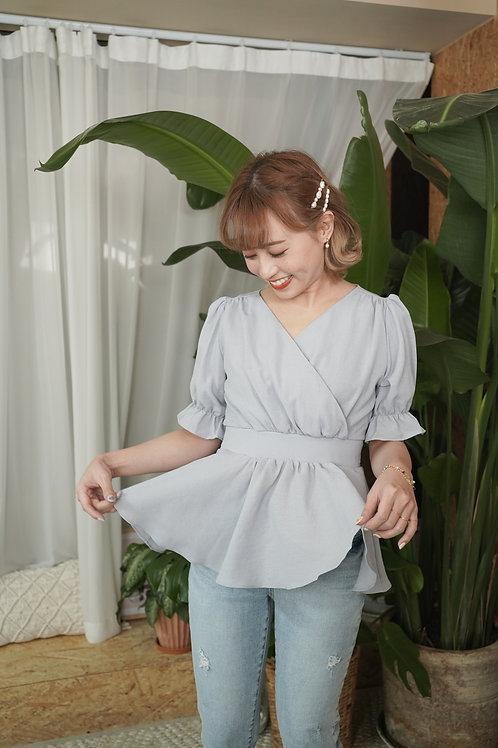 [預訂] 4色棉麻交叉收腰寬下擺後綁蝴蝶結上衣(藍色)