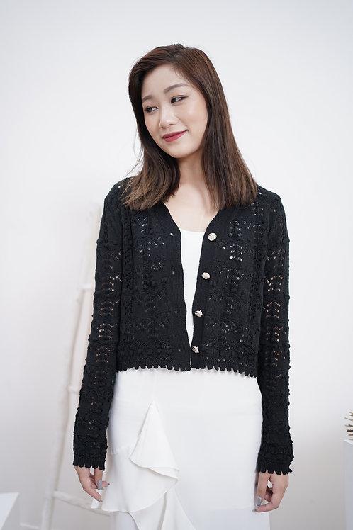 [售罄] 花邊通花短身針織小外套(黑色)