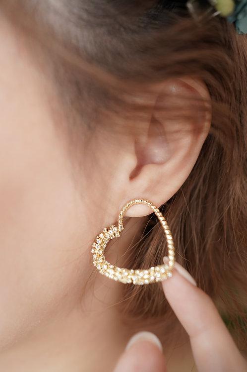 [現貨] 半紐紋半閃閃水鑽愛心耳環
