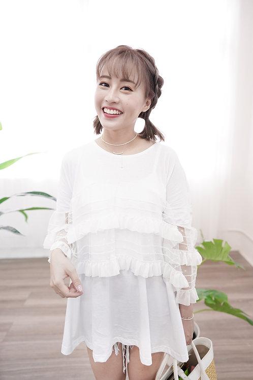 [現貨賣光不補] 寬長版Tee拼接雙層半透荷葉邊邊上衣(白色)