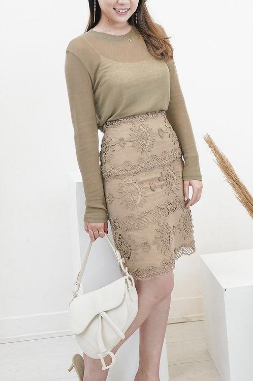 [售罄] 復古蕾絲修身半身裙