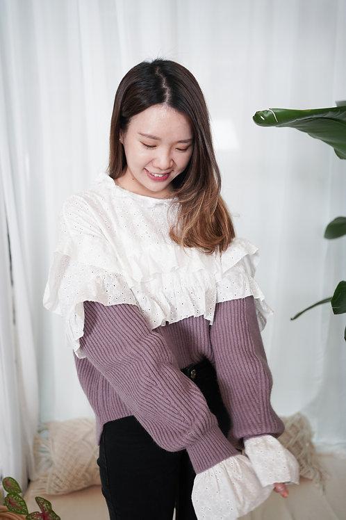 [售罄] 荷葉通花刺繡拼接針織直紋上衣(灰紫色)