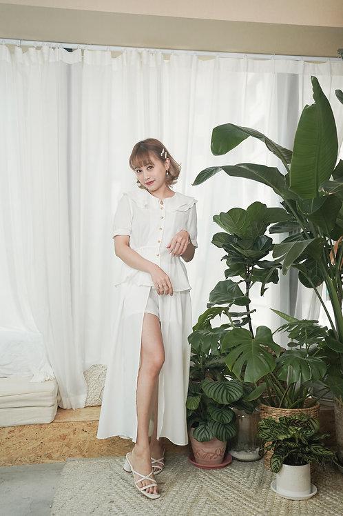[現貨賣光不補] 中央開叉飄逸雪紡女神半身裙褲(白色)