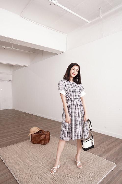 [現貨賣光不補] 野餐風裇衫反摺袖子格仔束腰連身裙(深藍色)